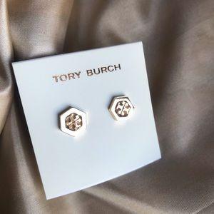 Tory Burch Hex logo gold stud earrings